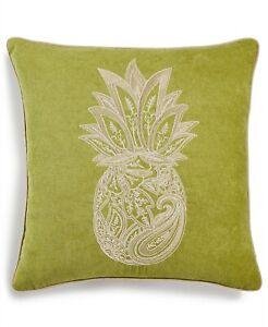 "Lacourte Soutache Pineapple 18"" Embroidered Chenille Decorative Pillow - Green"