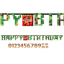 TNT Party Pixel Minecraft Add an Age Letter Banner - Decorations Birthday