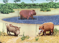 Gambia 2018 MNH Large African Mammals Hippos Warthogs 3v M/S Wild Animals Stamps