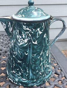 Antique Green Swirl Agate Enamelware Coffee Pot Granite Ware Enameled Pitcher