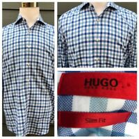 HUGO BOSS Red Label Men Check 100% Cotton Slim Fit Long Sleeves Shirt Size 41/16