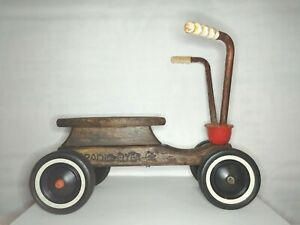 Vintage Radio Flyer Wooden 4 Wheel Scooter Ride On Toy. Genuine USA Maple Wood.