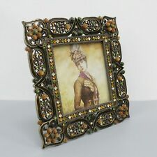 Tizo Brass Tone Enameled & Jeweled 4x4 Picture Frame