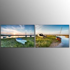 FRAMED 2 Piece Canvas Print Art Small Boats Canvas Painting Art For Wall Decor