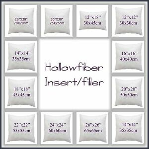 """Hotel Quality Hollowfibre Cushion Pads,Filler,Inners 12""""14""""16""""18""""20""""22""""24""""26""""28"""""""