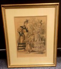 OLD LA MODE JOLIE COLORED PRINT LADIES IN GARDEN NICELY FRAMED & MATTED 14.5X17