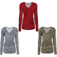 Women's Ladies Long Sleeve Animal Leopard Print Top V Neck T-Shirt UK Size 8-22