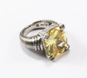 JUDITH RIPKA925 STERLING SILVER CANARY CRYSTAL SMALL ACCENT DIAMOND RING Sz 6