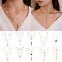 Women Necklace Multi-layer Long Chain Pendant Boho Choker Jewelry Fashion