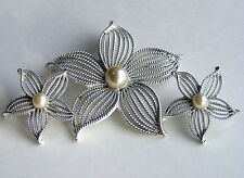Vintage SARAH COVENTRY Silver Tone MOONFLOWER Flower Brooch Clip Earring Set W1