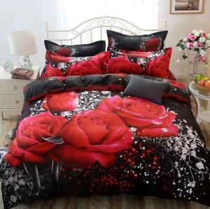 3D Red Roses Bedding Set Queen Duvet Cover Comforter Cover Pillow Case