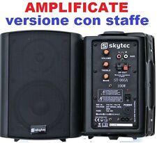 COPPIA CASSE AMPLIFICATE ATTIVE NERE 100 WATT MAX CON STAFFE X MURO O PARETE new