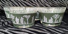 4 Jeannette Hellenic-Green Flat Sherbet Glasses w/Gold Trim holds 8oz