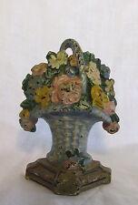 Antique Cast Iron Hubley Miniature Painted Door Stop Flowers in Handled Basket