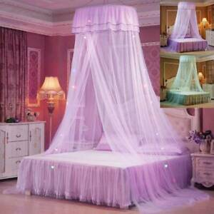 Princess Dome Lace LED Light Mosquito Net Mesh Bed Canopy Home Bedroom Decor