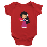 Infant Baby Boy Girl Rib Bodysuit Clothes Babysuits Walt Disney Princess Mulan