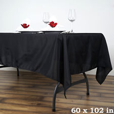 "BLACK 60x102"" RECTANGLE POLYESTER TABLECLOTH Wedding Party Catering Kitchen"