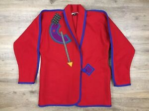 BEPPA Seattle Wear Art Abstract Applique Red Wool Coat Wms S Vintage Retro 80s