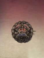 Antique Sterling Silver Red Enamel Canada Military Sweetheart Brooch Pin Marked.