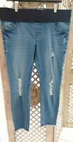 NEW LOOK MATERNITY UK 12 BNWT Blue Denim Under Bump Skinny Cropped Ripped Jeans
