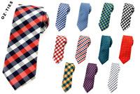 Mens Skinny Tie 6 CM Checkered Wedding Business Groomsmen Ties CHOOSE COLOR
