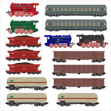 Childrens Train Set - 15 Pack - Wall Art Vinyl Stickers Steam Engines Carriages