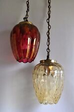 Vintage Tulip Flower Glass Hanging Ceiling Light Fixture Shade Lamp Swag