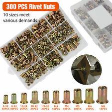 300 Pcs Zinc Steel Metric Rivet Nut Kit Flat Head Insert Threaded Nutsert Assort