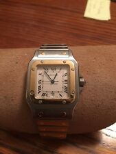 Cartier Santos, 18K Gold and Stainless with Date, Mans Watch, Water Resistant