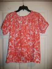 LIZ CLAIBORNE NEW YORK ORANGE FLORAL PRINT SHORT SLEEVE BLOUSE/TOP SIZE SMALL