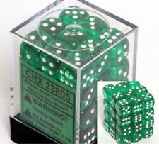Chessex Dice d6 Sets Green w/ White Translucent 36 12mm Six Sided Die CHX 23805