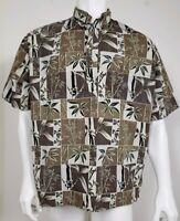 Hilo Hattie Mens Shirt Size Large Short Sleeve Button Front Floral Brown White
