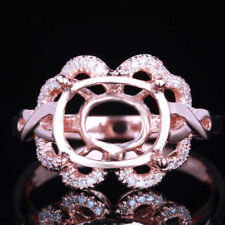 8X10mm Oval Cut Solid 10k Rose Gold Engagement Wedding Semi Mount Diamond Ring