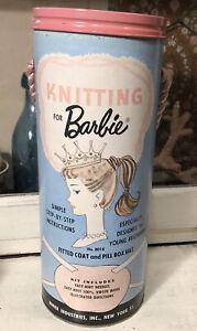 Vintage 1962 Knitting for Barbie Kit no. 8015 Unused Mint in Canister Miner Ind.