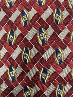 "Robert Talbott Studio Red Navy Gold Tie Geometric Silk Necktie Mens 57"" x 4"""