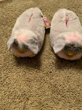 1999 Tiger Furby Slippers Pink And Gray With Tags