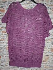 Misses LARGE Sweater Pink Mauve Sequin Sparkle Open Weave Crochet SS Banded Hem