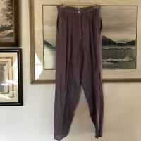 Laise Adzer Purple Cotton Rayon Lagenlook Pants Vtg Sz M A732