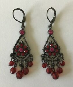 Red and Pink Rhinestone Black Tone Chandelier Lever Back Earrings