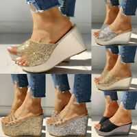 Womens Sandals Casual Wedges Heel Platform Peep Toe Ladies Slip On Shoes Slipper
