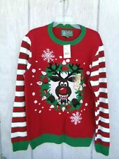 Vintage Ugly Christmas Sweater Large Women's Reindeer Snowflake Pullover Red