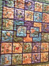 """Handmade AlphabetSquares Quilted Baby / Lap Quilt54"""" X40"""" Nature Orange Blue"""