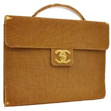 CHANEL CC Business Briefcase Hand Bag Brown Linen Leather 5282876 JT06680d