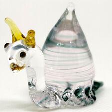 Snail Miniature Figurine Animal Hand Blown Glass Art Collectible Gift Home Decor