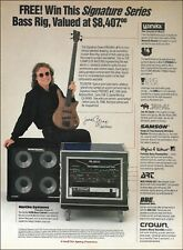 Cream Jack Bruce Signature Warwick Bass guitar rig Hartke Amp 1990 advertisement