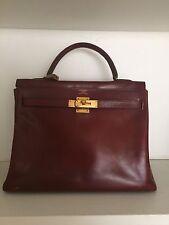 Auth HERMES Kelly Retourne 32 Burgundy Bordeaux Leather Handbag Bag