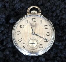 E HOWARD WATCH CO. KEYSTONE EXTRA 14k WHITE GOLD FILLED POCKET WATCH W/CHAIN