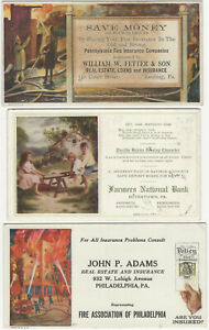 Three Pennsylvania Fire Insurance Bank Real Estate Advertising Blotters