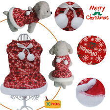 Cute Small Pet Puppy Red Dress Dog Fleece WarmOutfit Xmas Christmas Costume Gift