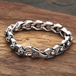 Solid 925 Sterling Silver Mens Heavy Thick Skull Chain Clasp Cuff Bracelet 20cm